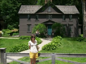 Me in front of Orchard House in Concord, where Alcott wrote and set Little Women. You can't tell, but I'm shaking with joy.